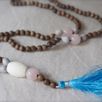 Love Mala necklace Pink rose quartz 108 Wood bead rustic tribal white coral beach sky blue tassel Heart chakra Yoga meditation Prayer beads