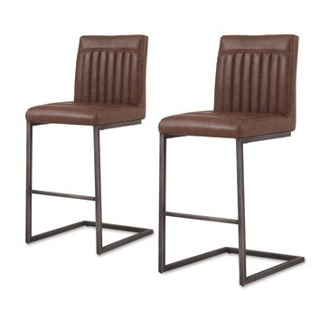 Ronan PU Leather Counter Stool (Set of 2) Antique Cigar Brown