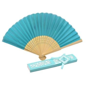 Elegant Silk folding Fan with Luxury Laser-Cut Gift Box + Thank you Card + Ribbon for wedding favor