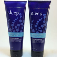 2 SET Bath Body Works Aromatherapy Sleep Lavender Vanilla 8.0 oz Body Cream