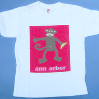 Monkey with Banana TShirt Ann Arbor red brown white Rabbit Skins Youth S, M, L