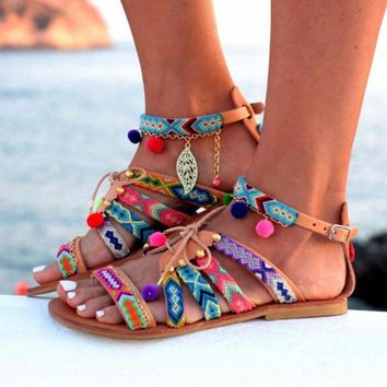 Boho Leather Gladiator Pom Pom Sandals