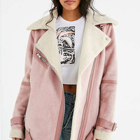 Avec Les Filles Oversized Faux Sherpa Pink Jacket | Urban Outfitters