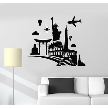 Vinyl Wall Decal World Tourism Day Eiffel Tower Airplane Statue of Liberty Stickers Mural (g925)