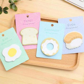 4pcs Creative Sweet Sticky Egg Sushi Breakfast Bread Memo Pad N Stickers Note Paper Posted Notes Message Note School Supplies
