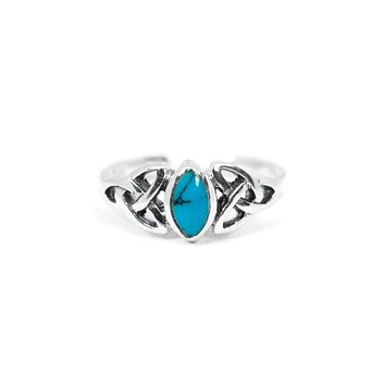 Sterling Silver Marquise Turquoise Celtic Design Toe Ring