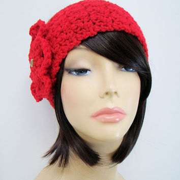 FREE SHIPPING - Crochet Ear Warmer Headband with Flower and Button - Bright Red