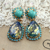 Turquoise stud Crystal chandelier statement earrings - 14k gold plated earrings real swarovski rhinestones .
