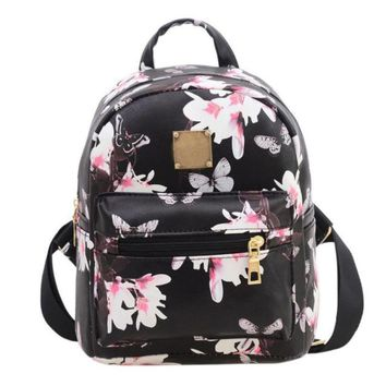 Women Backpack Fashion Teenage Travel Black Causal Floral Flower Printing Leather Bag Mochilas Mujer