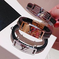 Louis Vuitton LV Fashion Women Men Leather Steel Wire High Quality Lovers Stainless Steel Bracelet Hand Catenary I-KMG-NPSL