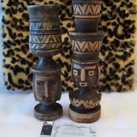 Vintage Hand Carved Wooden Peruvian Candle Sticks Incan Tribal Ethnic
