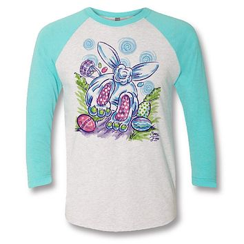 Sassy Frass Cottontail Easter Bunny Bright Raglan Girlie T Shirt