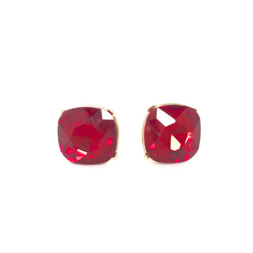 Fire Red Cube Crystal Stud Earrings