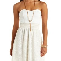 Crocheted Lace Strapless Dress by Charlotte Russe - Ivory