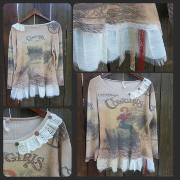 Boho Top - Rustic Western Shirt - Tattered Cowgirls Blouse - Shabby Tee - Tshirt Original One of a Kind Design by From the Hope Chest