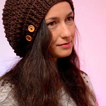 Crochet brown beanie hat, chocolate hat, woman accessories, crocheted winter wool hat,  fall winter fashion, slouchy hat, autumb brown hat.