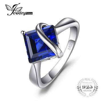 JewelryPalace Classic 3.32 ct Square Created Blue Sapphire Engagement Rings For Women Genuine 925 Sterling Silver Charms Jewelry