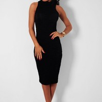 Bethany Black Turtle Neck Ruffle Bodycon Midi Dress | Pink Boutique