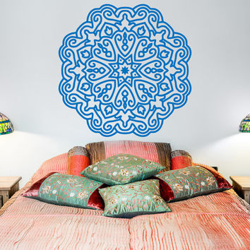 Yoga Wall Decal Mandala Lotus Flower Decals Indian Decor Meditation Art Bedroom Yoga Studio Boho Bohemian Home Decor Interior Design C099