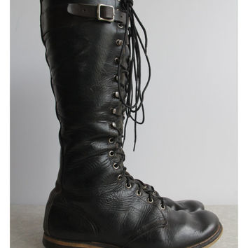 Vintage WWI Combat Boots . Antique Military Footwear . Mens Shoes . World War One.  Mens Size 11