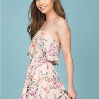 Jemma Floral Going Out Dress Beige