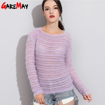 Garemay Mohair Pullover Sweater Woman Knitted Sweaters Long Sleeve Loose O-Neck Hedging Female Sweater Pullover Pull Femme