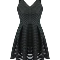 Black Sleeveless V-Neckline Skater Dress with Sheer Crochet Details