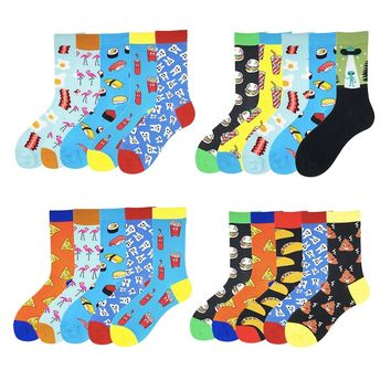 VPM Women&Men's Crew Socks 85% Cotton Funny Happy Hip Hop Japanese Cool Harajuku Alien Flamingos Business Sock Gift 5 Pairs/lot