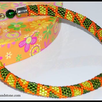 NO SHIPPING COST, crochet rope , bead crochet necklace, green, orange, beaded necklace, handmade necklace - жгут из бисера вязаный крючком