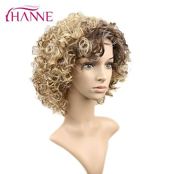 HANNE Short Wigs Mixed Blonde and brown Color Heat Resistant Synthetic Hair Bouncy Curly Wig With bangs For Black Or White Woman