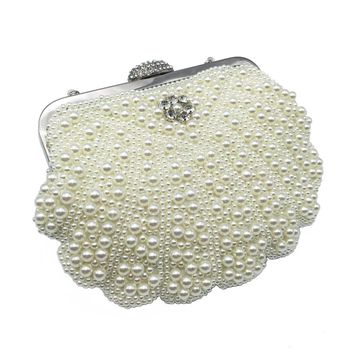 2017 Luxury Pearl Women Bag Fashion Two Sided Beaded Evening Bags For Female Elegant 3 Colors Bridal Wedding Party Bag Clutch