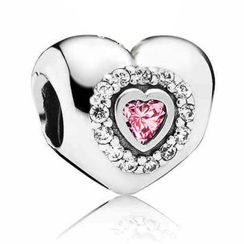 Pink Crystal Rhinestone European Heart Silver Plated Bead Large Hole Charm