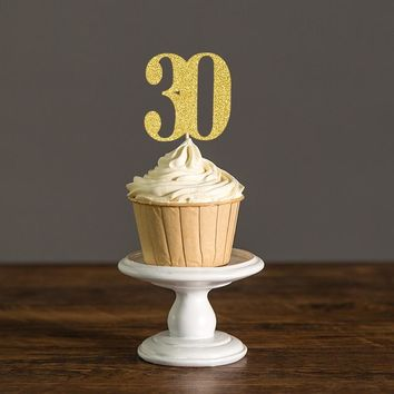 Gold or Black Glitter Number 30 Cupcake Toppers Picks,30th/Thirty Birthday or Wedding Party Decorations Cake Decoration Supplies