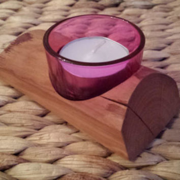 Rustic split wooden single tea light holder, red glass, red, romance, valentines, valentines day, valentines gifts, be my valentine
