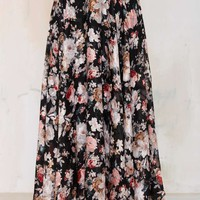 Hazel Burn Out Floral Maxi Skirt