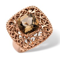 3.30 TCW Princess-Cut Smoky Quartz Filigree Cocktail Ring in Rose Ion-Plated