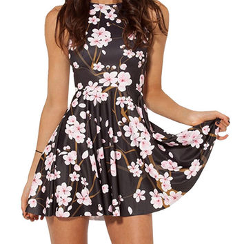 Black Sleeveless Floral Printed Skater Dress