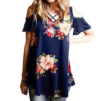 Xuan2Xuan3 Women Crisscross V Neck Cold Shoulder Floral Printed Short Sleeve Summer Casual Loose Tunic Blouse Top Tee Shirt