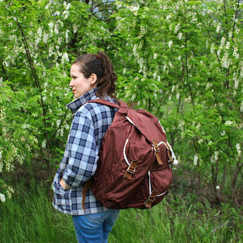 USSR Hiking Rucksack / Classic Large Brown Canvas Soviet Vintage Travel Backpack / 1970's Light Synthetic Camping, Explorer Bag, VEGAN