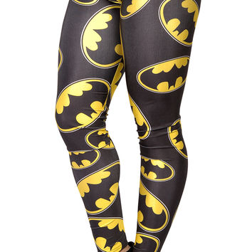 BadAssLeggings Women's Superhero Leggings Medium Black