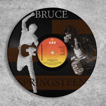 Bruce Springsteen Wall Art, Personalized Music Art, Rock and Roll Wall Decor Ideas, Vinyl Record Art, Your Choice of Label, Perfect Gift