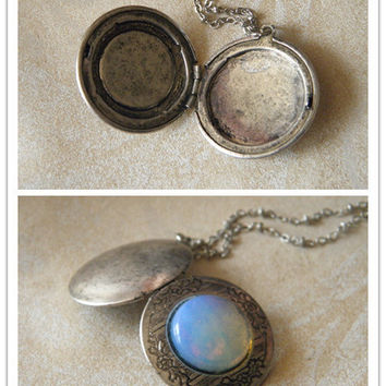 antique silver natural opal locket necklace jewelry moon stone necklace