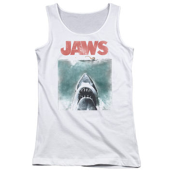 JAWS/VINTAGE POSTER - JUNIORS TANK TOP - WHITE -