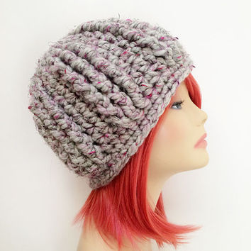 FREE SHIPPING - Crochet Chunky Beanie Hat - Gray, Pink