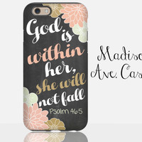 God Is Within Her, She Will Not Fall Psalm 46:5 Christian Bible Verse Chalkboard Samsung Galaxy Edge iPhone 5s 4 4s 6 Plus Tough Phone Case