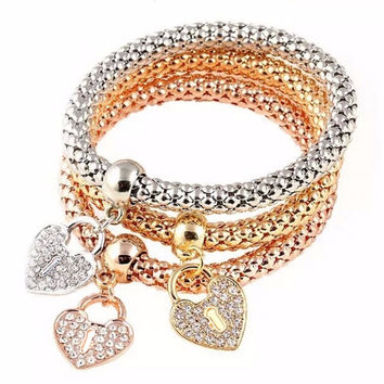 3Pcs Gold Filled Heart Charm Elastic Bracelets For Womens Bracelet Cute Multilayer Bangles SM6