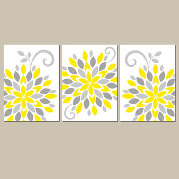 Yellow Gray Wall Art, Canvas or Prints, Yellow Gray Bathroom Artwork, Bedroom Pictures, Floral Wall Art, Flower Burst Dahlia, Set of 3 Decor