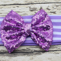 Lavender Striped Sequin Big Bow