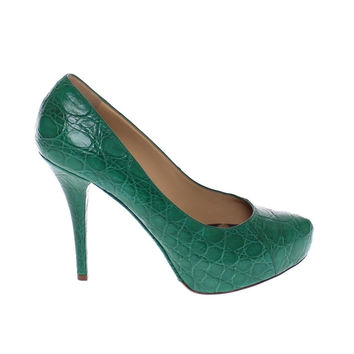 Dolce & Gabbana Green Caiman Crocodile Leather Pumps Shoes