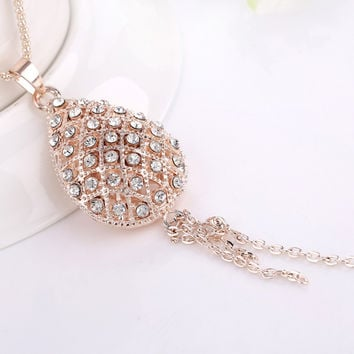 Shiny Jewelry New Arrival Gift Stylish Diamonds Gold Geometric Accessory Lovely Tassels Creative Design Necklace [6049480385]